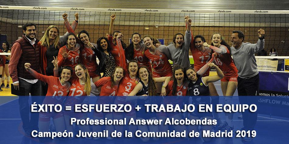 Professional Answer Alcobendas, Campeones de la Comunidad de Madrid de Voleibol por décima vez consecutiva